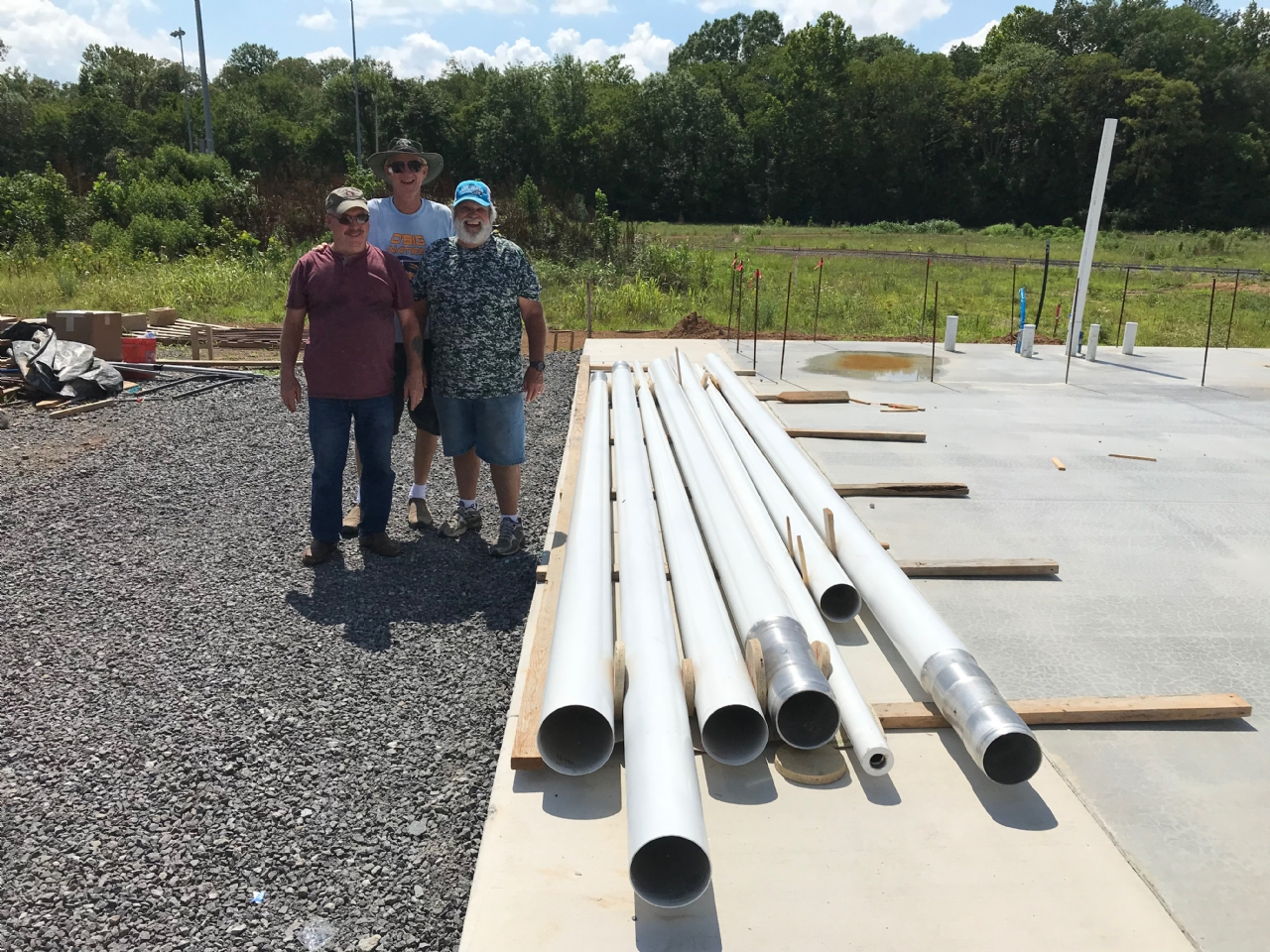 Three flag poles have been delivered and will soon be installed.  One 50' for American flag (8x12)and two 40' poles, one for state flag (5x8)and one for POW/MIA flag (5x8).